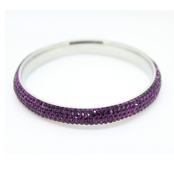 Stainless Steel & Czech 'Purple Sparkle' Purple and Silver Bangle/Bracelet