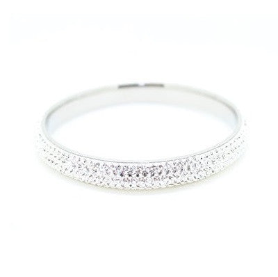 Stainless Steel & Czech 'Ice Sparkle' Crystal White and Silver Bangle/Bracelet