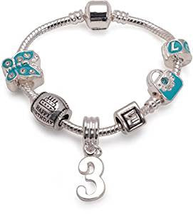 Children's Blue 'Happy 3rd Birthday' Silver Plated Charm Bead Bracelet