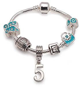 Children's Blue 'Happy 5th Birthday' Silver Plated Charm Bead Bracelet