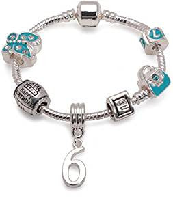 Children's Blue 'Happy 6th Birthday' Silver Plated Charm Bead Bracelet