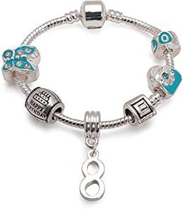 Children's Blue 'Happy 8th Birthday' Silver Plated Charm Bead Bracelet