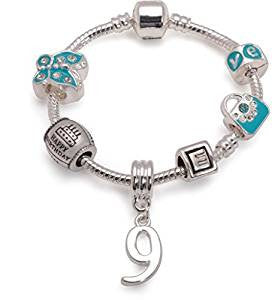 Children's Blue 'Happy 9th Birthday' Silver Plated Charm Bead Bracelet