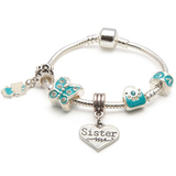 Children's Sister 'Blue Butterfly' Silver Plated Charm Bead Bracelet