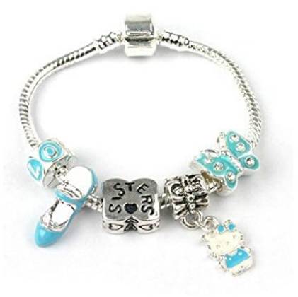 blue kitty sister bracelet with charms and beads