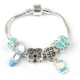 Children's Sisters 'Blue Kitty Cat' Silver Plated Charm Bead Bracelet