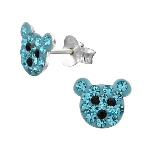 Children's Sterling Silver Blue Crystal Teddy Bear Stud Earrings
