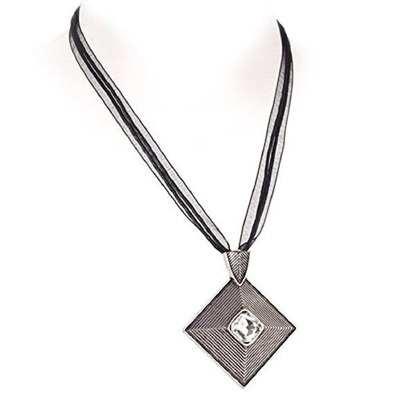 Diamante 'Inca' Square Pendant and Ribbon Chain Boho Necklace
