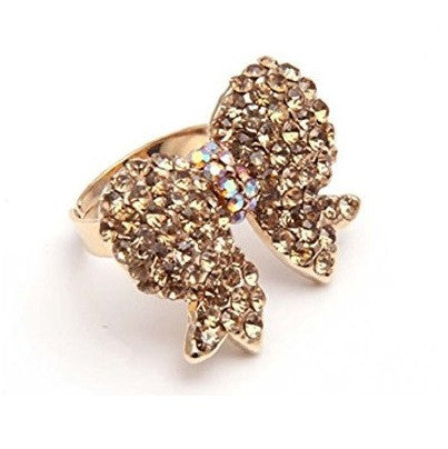 Designer Inspired Gold and Crystal 'Bow' Adjustable Cocktail Ring