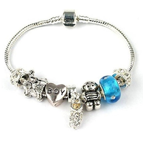 New Baby 'It's A Boy' Silver Plated Charm Bead Bracelet