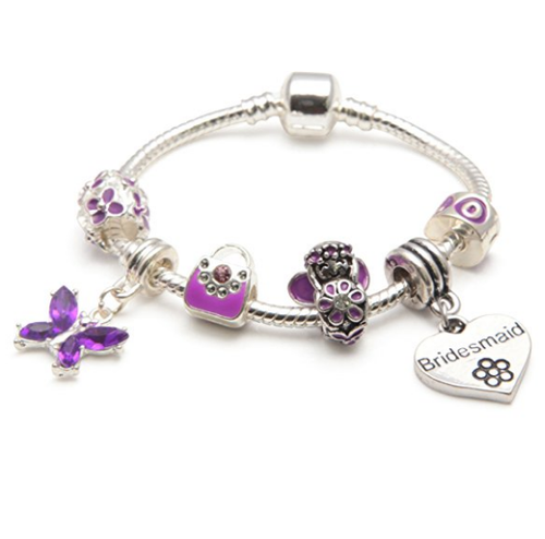 Children's Bridesmaid 'Purple Fairy Dream' Silver Plated Charm Bead Bracelet