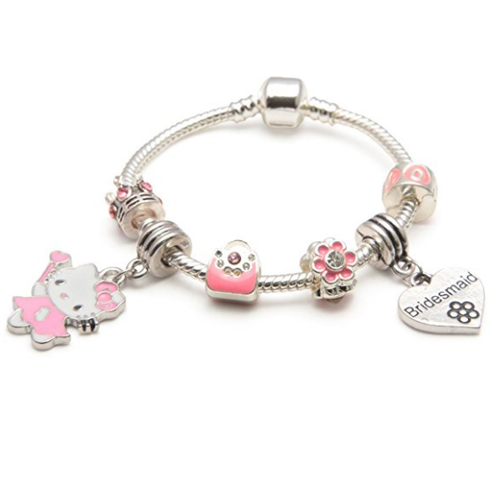 Children's Bridesmaid 'Pink Kitty Cat Glamour' Silver Plated Charm Bead Bracelet