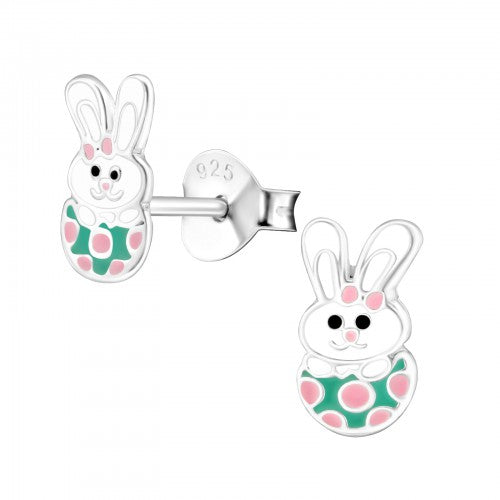 Children's Sterling Silver 'Easter Bunny in Easter Egg' Stud Earrings