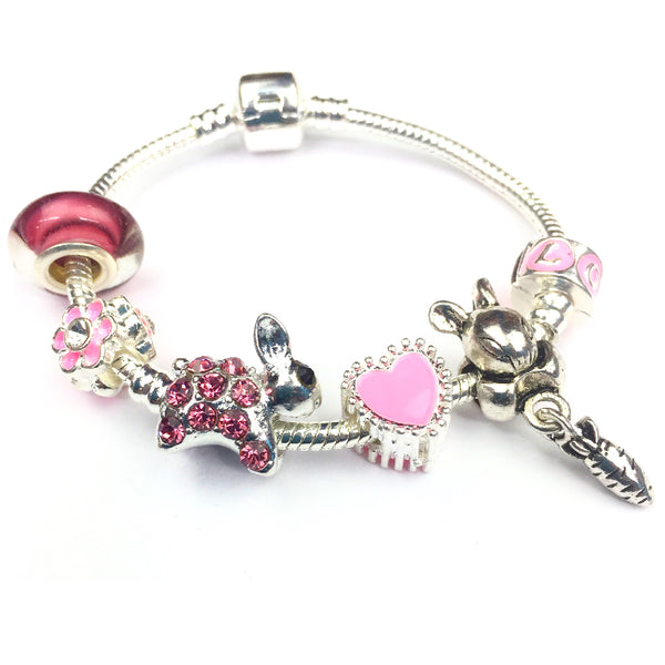 Children's 'Pink Sparkle Bunny Rabbit' Silver Plated Charm Bead Bracelet