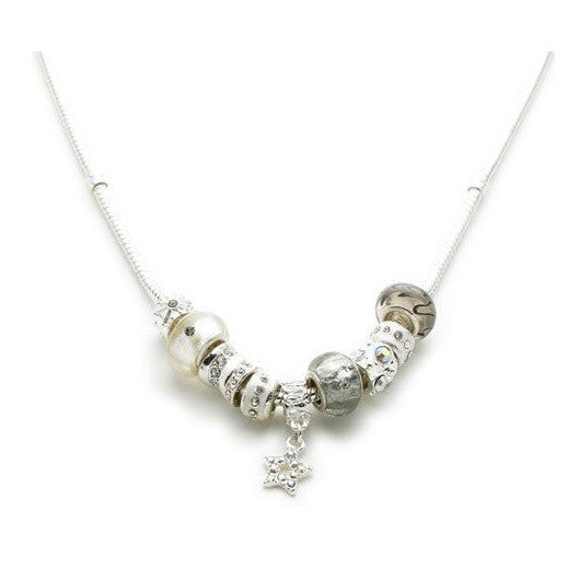 Silver Plated 'Champagne Glamour' Charm Bead Necklace