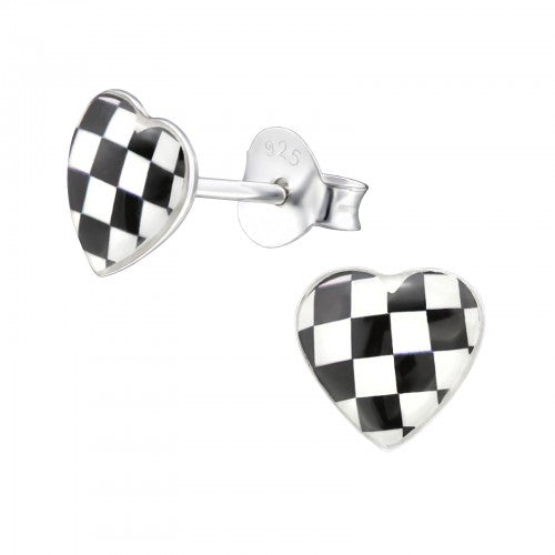 Children's Sterling Silver 'Checkered Heart' Stud Earrings