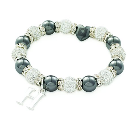 Designer Inspired 'Chelsea Starlet' White Czech Crystal and Haematite Stretch Bracelet