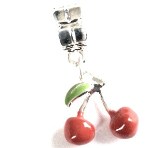 cherry drop charm for bracelet or necklace