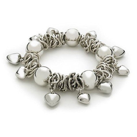 Silver Tone 'Oh So Charming' Heart Charm and Bead Stretch Bracelet