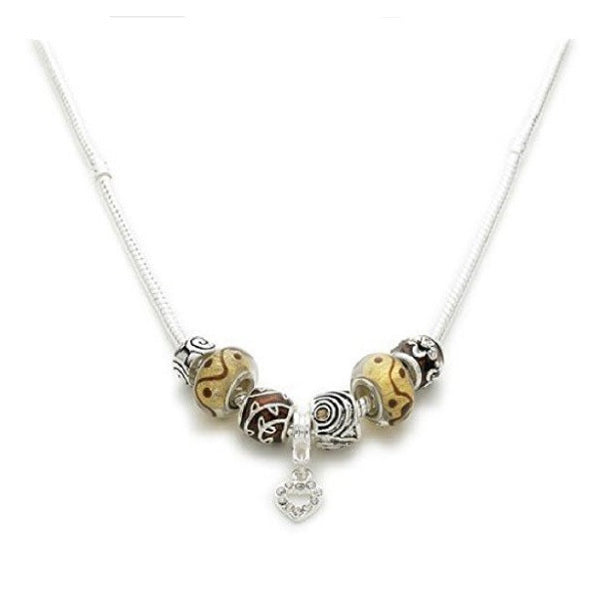 Silver Plated 'Cinnamon Swirl' Charm Bead Necklace