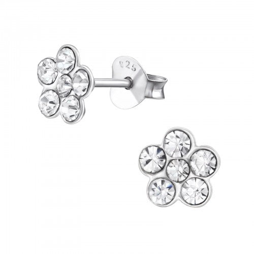 Children's Sterling Silver Clear Diamante Flower Stud Earrings