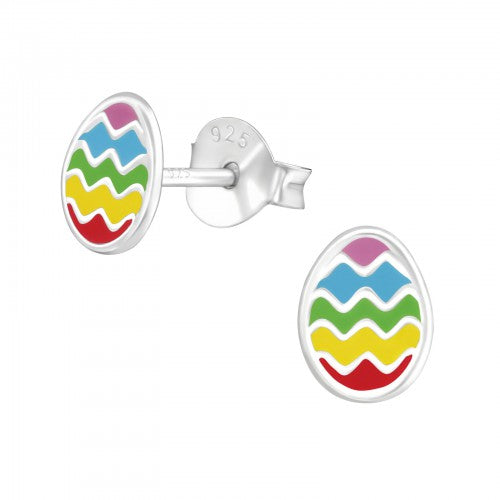 Children's Sterling Silver 'Colourful Easter Egg' Stud Earrings