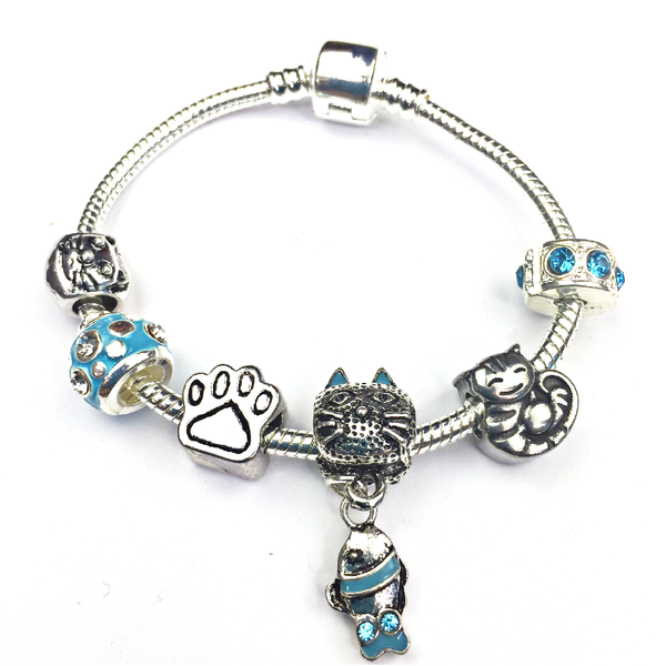 Children's 'Cool for Cats' Silver Plated Charm Bead Bracelet