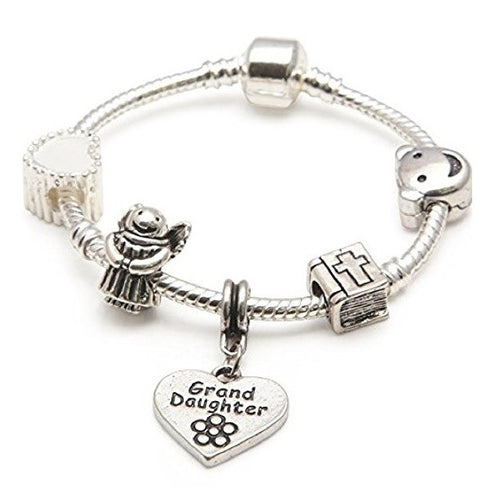 Baby Girl's Christening Keepsake 'Granddaughter' Silver Plated Charm Bead Bracelet