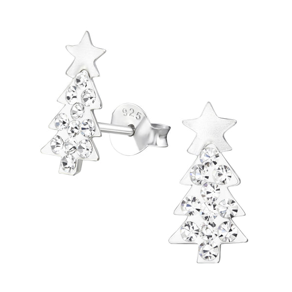 Children's Sterling Silver Sparkly Christmas Tree Stud Earrings