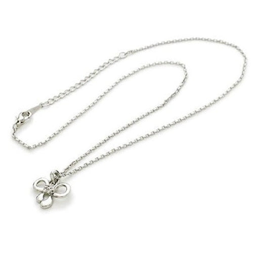 925 Sterling Silver Plated 'Dainty Bow' Cubic Zirconia Pendant Necklace