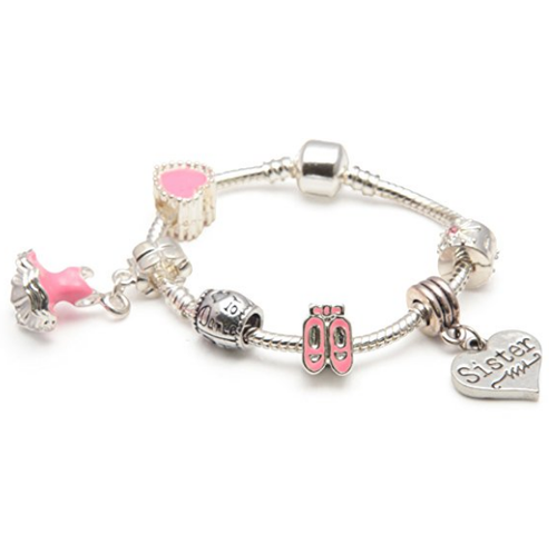 pink dance sister bracelet with charms and beads