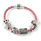Teenager's/Tween's Daughter 'Birthday Bling' Pink Braided Leather Charm Bead Bracelet