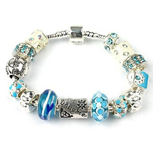 Teenager's Daughter 'Blue Babe' Silver Plated Charm Bead Bracelet