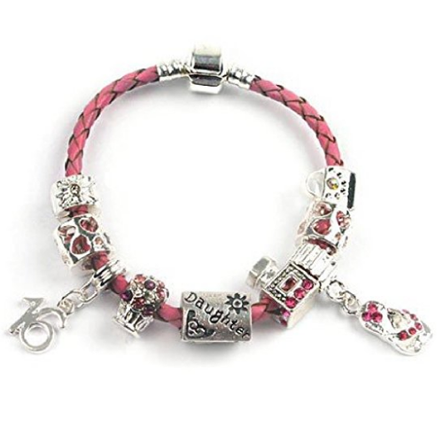 Teenager's Daughter 'Little Mix' Age 13/16/18 Pink Braided Charm Bead Bracelet