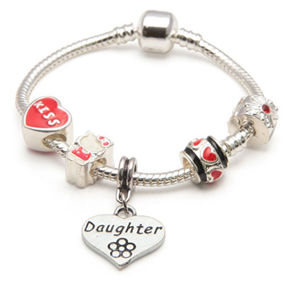 Children's Daughter 'Red Kitty Cat' Silver Plated Charm Bead Bracelet
