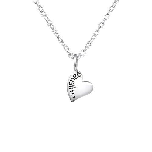 Children's Sterling Silver Daughter Heart Pendant Necklace