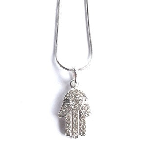 Diamante necklace with hamsa hand close up