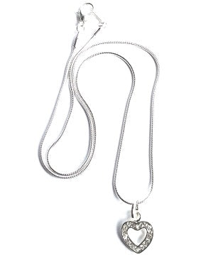 'Diamante Heart' Silver Plated Necklace