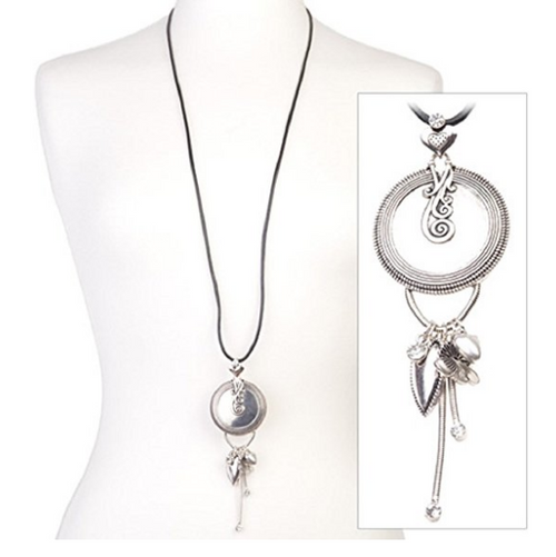 Silver Tone 'Shimmer Heart' Diamante Crystal Tassel Pendant Black Leather Cord Necklace 43cm-50cm