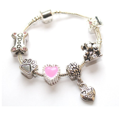 Children's 'Love My Dog' Silver Plated Charm Bead Bracelet