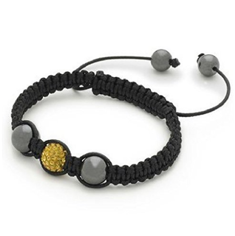 Designer Inspired 'Earth Star' Golden Yellow Czech Crystal Disco Ball Shamballa Bracelet