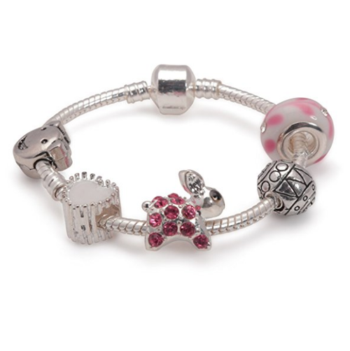Children's Pink 'Easter Bunny Dream' Silver Plated Charm Bead Bracelet