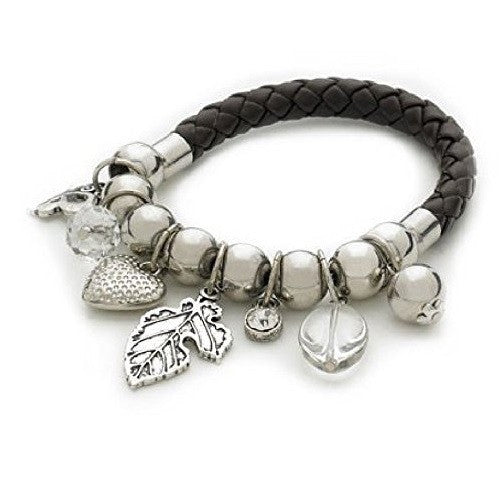 Heart Butterfly Leaf 'Silver Edge' Stretch Charm and Bead Bracelet