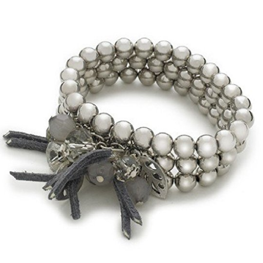 Designer Inspired 'Silver Enchantment' 3 Layer Stretch Charm Bead Bracelet