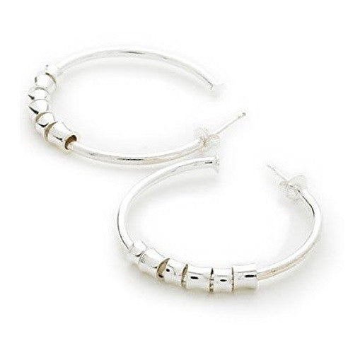 925 Sterling Silver Plated Designer Style Fashion 'Shapes' Beaded Hoop Earrings