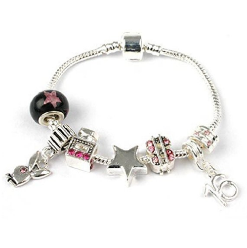 Teenager's 'Fashion Victim' Age 13/16/18 Silver Plated Charm Bead Bracelet