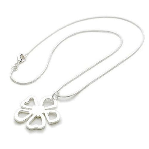925 Sterling Silver Plated Flower 'Silver Fleur' Pendant Necklace