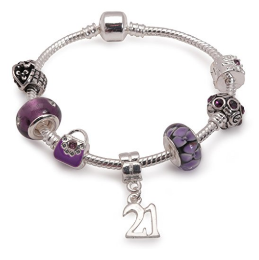 purple bracelet, 21st birthday gifts girl and charm bracelet gifts for 21 year old girl