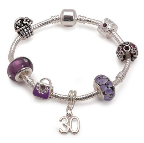 purple bracelet, 30th birthday gifts girl and charm bracelet gifts for 30 year old girl
