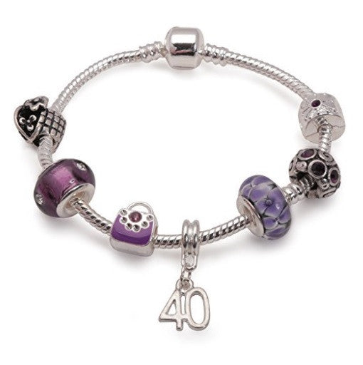 purple bracelet, 40th birthday gifts girl and charm bracelet gifts for 40 year old girl